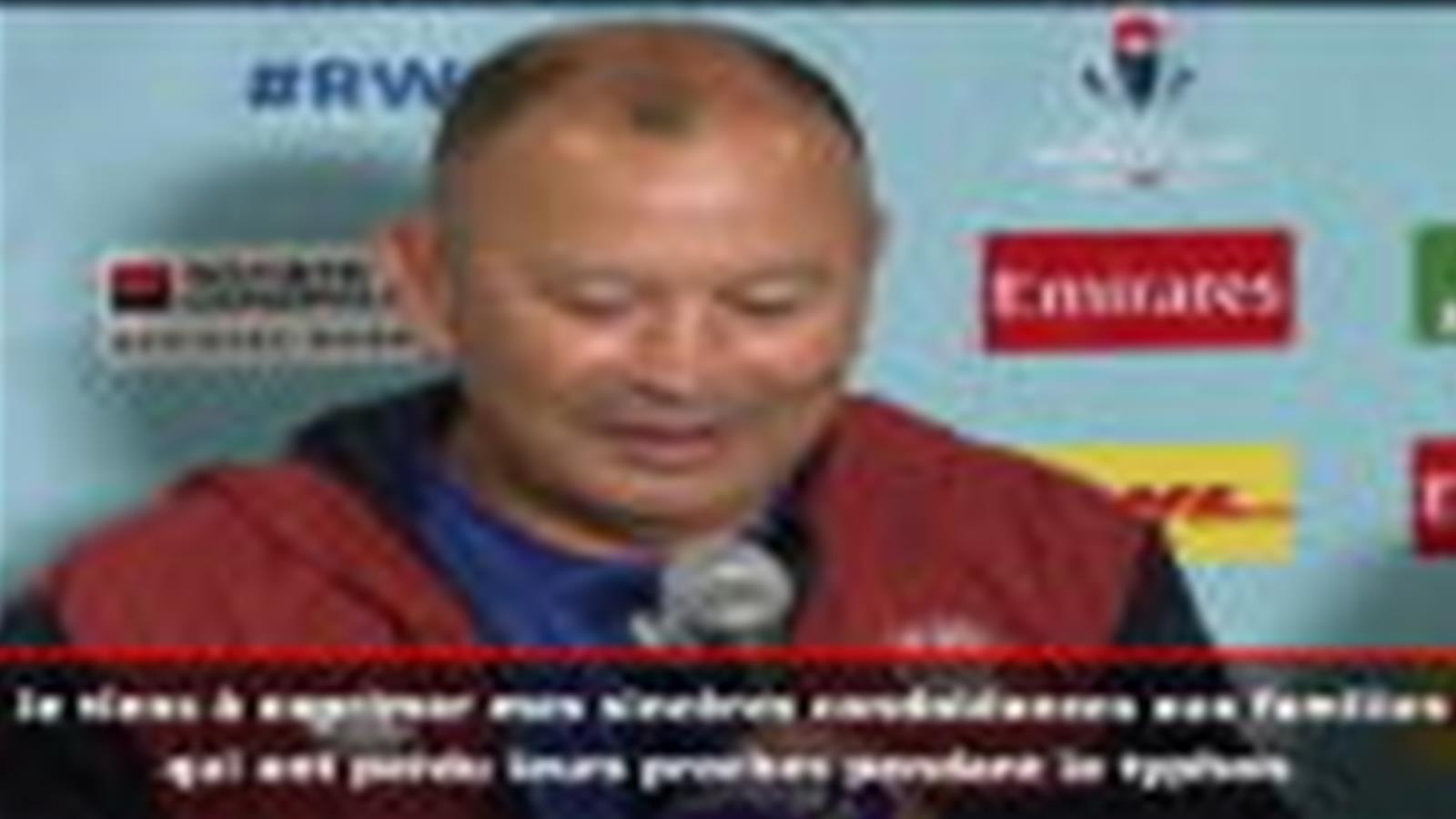 Vidéo - Coupe du monde 2019 - Hagibis : Jones adresse ses condoléances aux familles des victimes