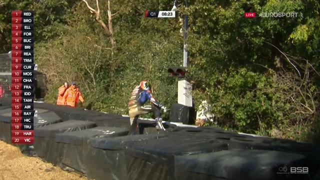 Rider loses bike as it flies out of the track and into trees