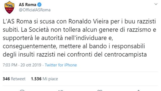 Altro episodio di razzismo in Samp-Roma: ''buu'' razzisti nei confronti di Vieira
