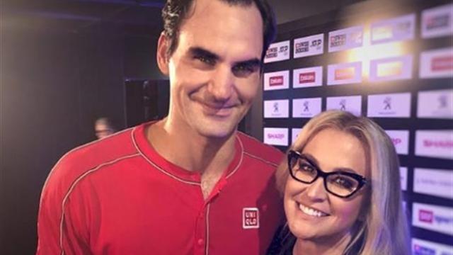 La estrella musical Anastacia enloquece al conocer a Roger Federer