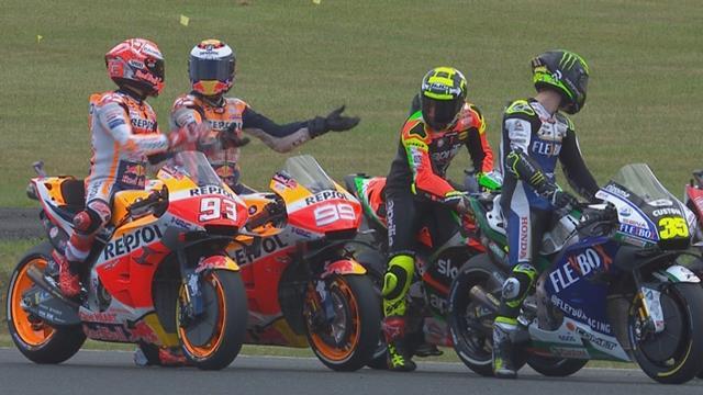 MotoGP   Marquez en Lorenzo krijgen het met elkaar aan de stok