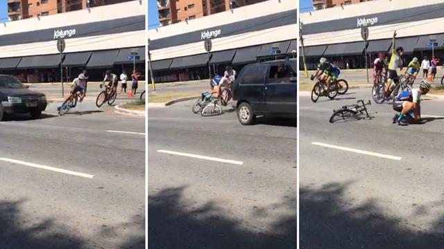Cyclist survives terrifying near-miss after car drives through course in Brazil