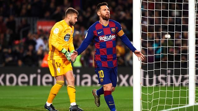 Messi hat-trick takes Barcelona to top of La Liga