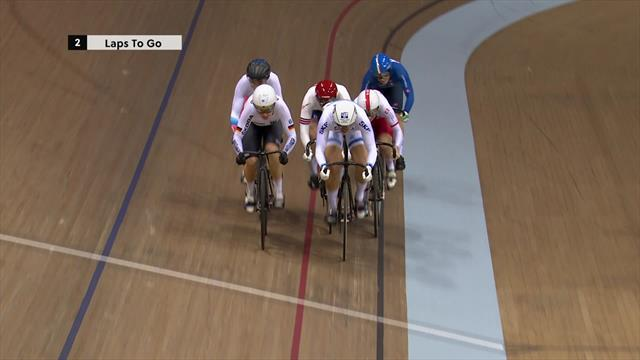Great Britain's Katy Marchant takes gold in keirin in thrilling finish