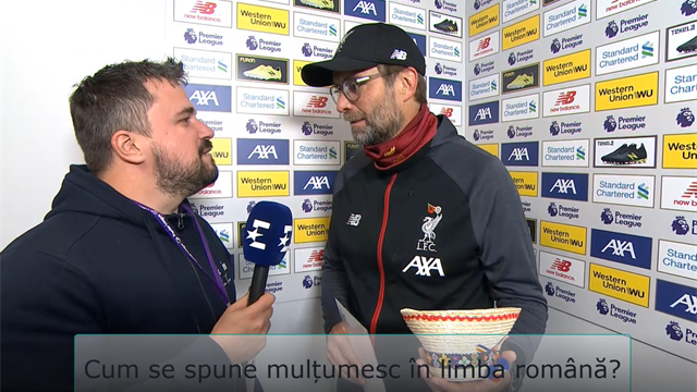 """Klopp: """"Cum zic 'mulțumesc' în română?"""". Reacție spumoasă după cadoul primit de la Eurosport România"""