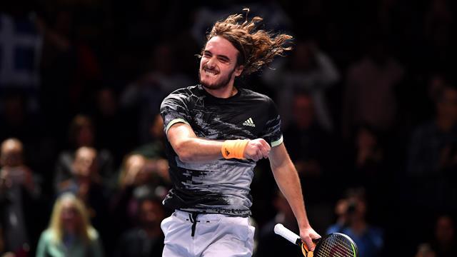 Tsitsipas overcomes Medvedev in battle of ATP Finals debutants