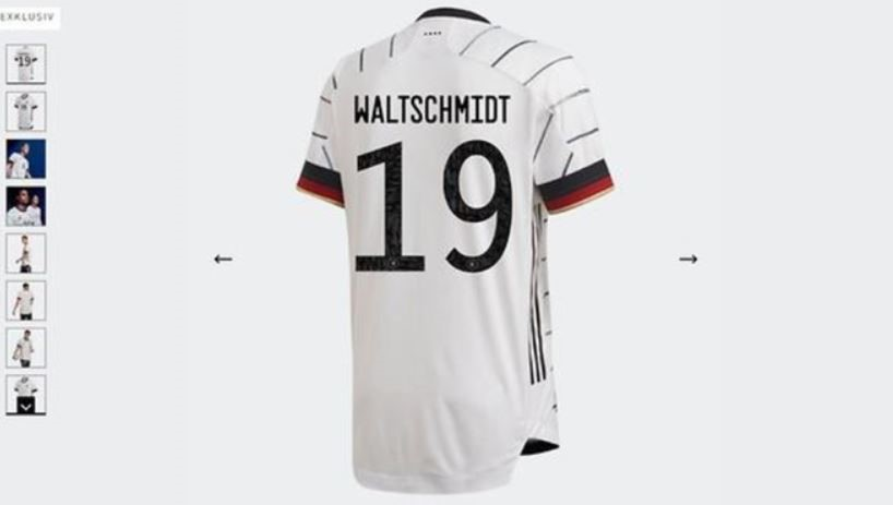 Luca Waldschmidts Name war auf der adidas-Seite auch falsch (Screenshot)