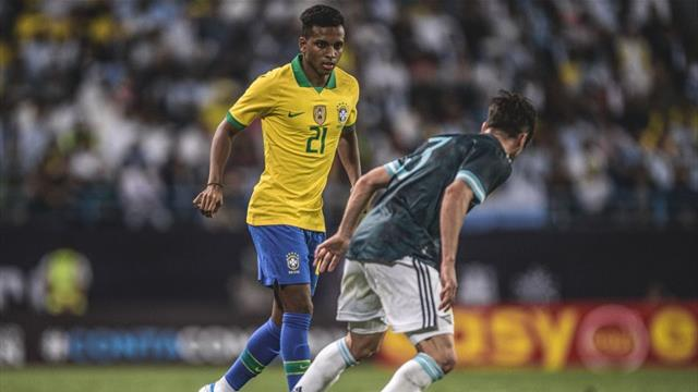 Real Madrid wonderkid Rodrygo celebrates Brazil debut
