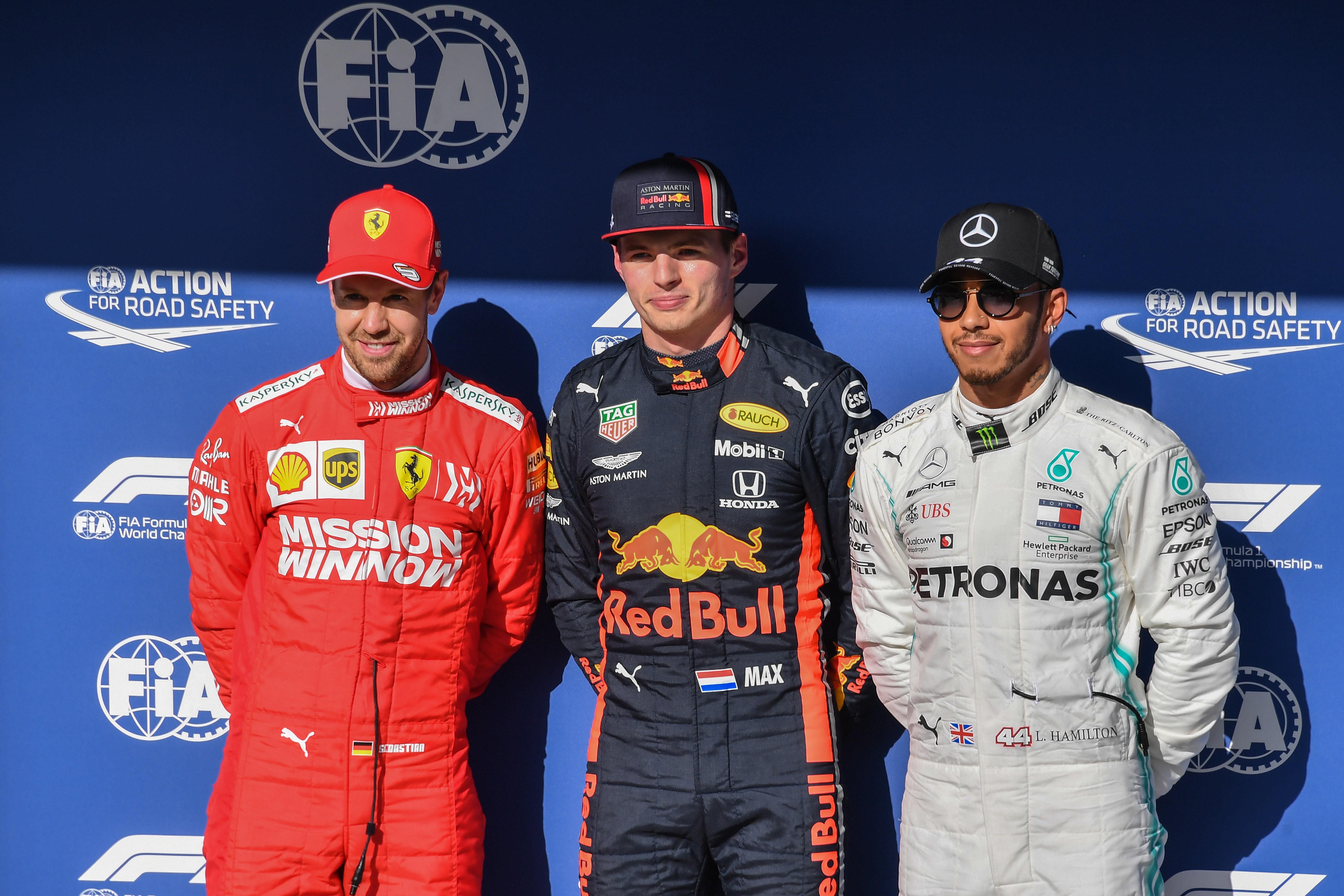 Sebastian Vettel (Ferrari), Max Verstappen (Red Bull) et Lewis Hamilton (Mercedes) au Grand Prix du Brésil 2019