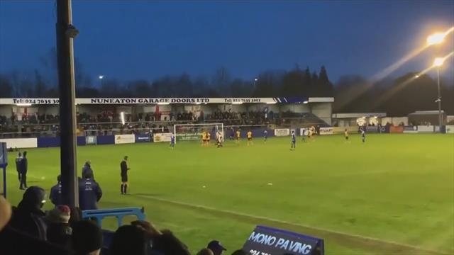 Non-league goalkeeper's terrible penalty attempt breaks light in stands