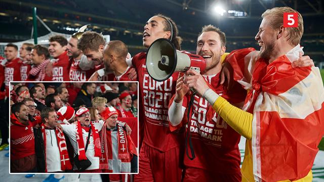 Landsholdet sejler op ad åen: Hør de danske drenge synge med fansene i Dublin