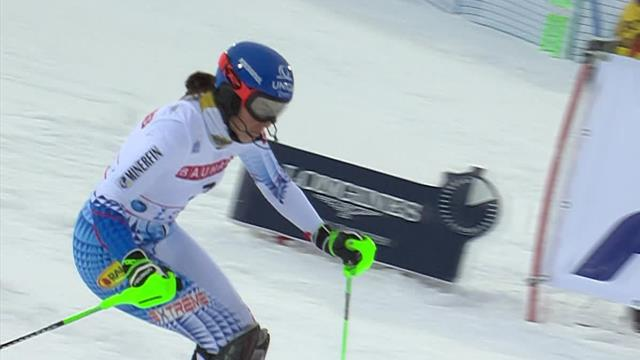 Vlhova's first run sees her lead Shiffrin