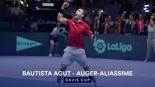 Highlights: Bautista Agut battles past Auger-Aliassime for Spain lead