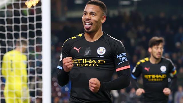 Il Manchester City torna a vincere a Burnley: 4-1 con doppio Gabriel Jesus, Rodri e Mahrez