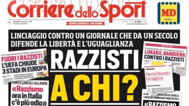 """Caso Black Friday, la dura replica del Corriere dello Sport: """"Razzisti a chi?"""""""