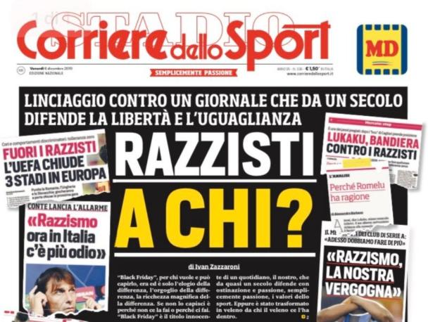 La une du Corriere dello Sport du vendredi 6 décembre 2019