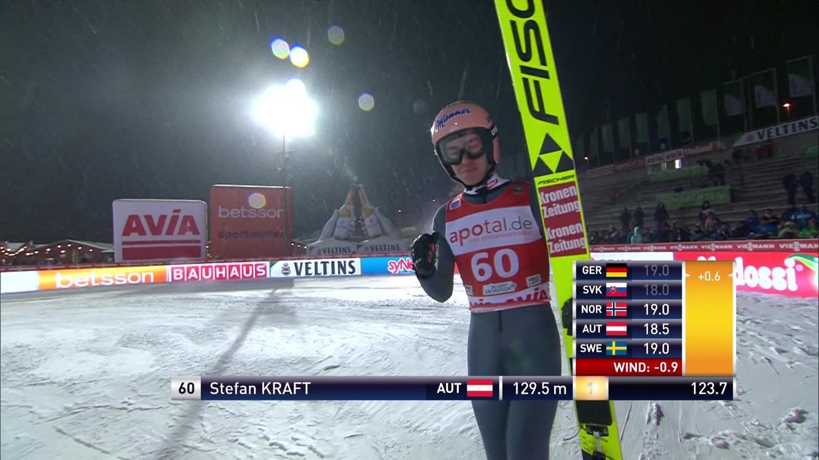 Oostenrijkse Stefan Kraft wint op het nippertje bij het skispringen in Klingerthal