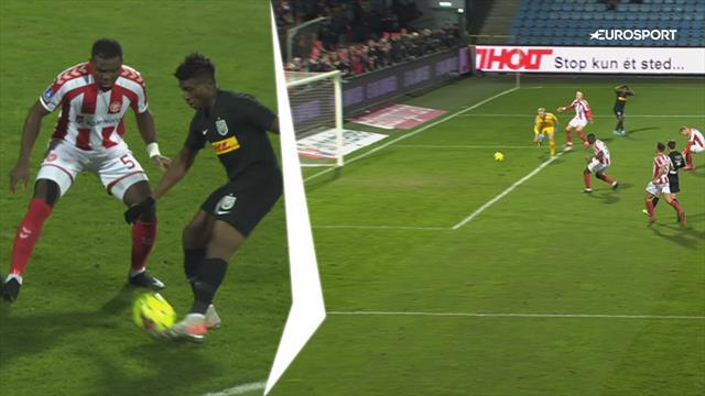 Highlights: Finurlig assist, komisk selvmål og frækt frisparksmål i kampen mellem AaB og FCN