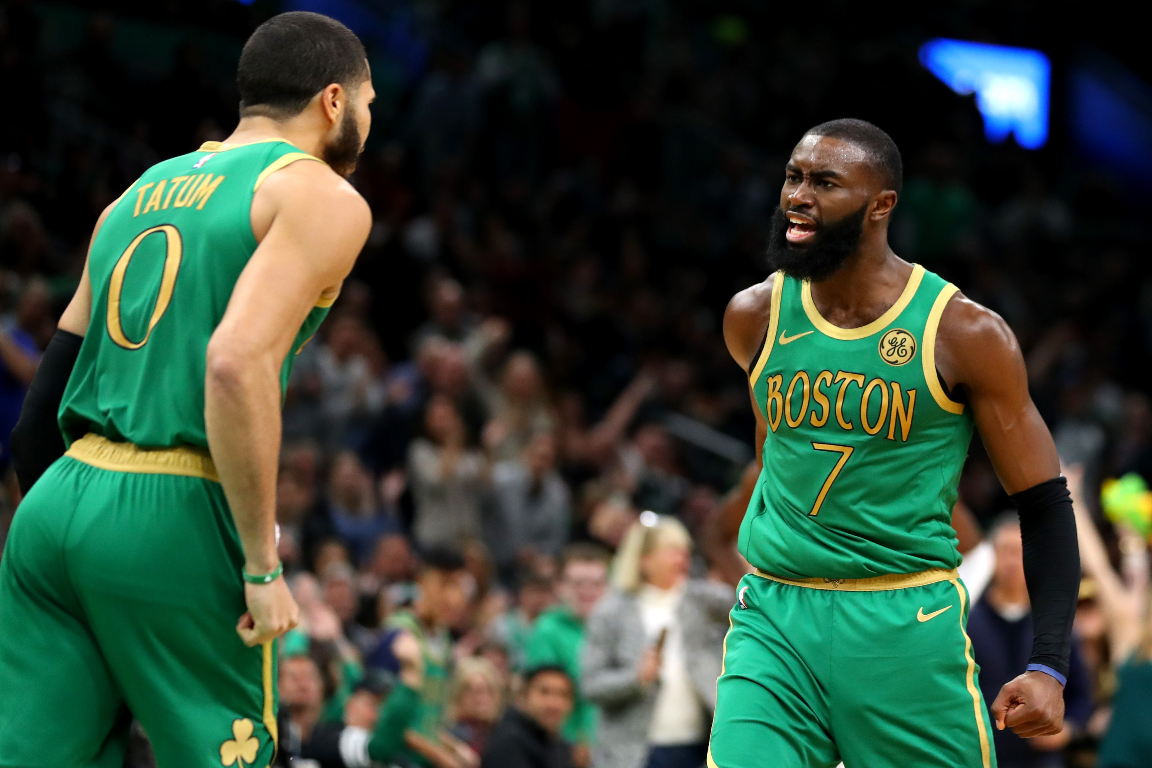 Jayston Tatum and Jaylen Brown of the Boston Celtics