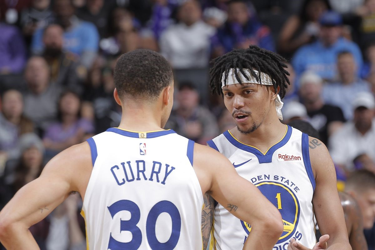 Damion Lee ve Stephen Curry | Golden State Warriors