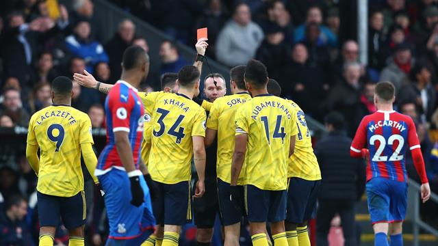 Aubameyang scores and sees red as Arsenal draw at Palace