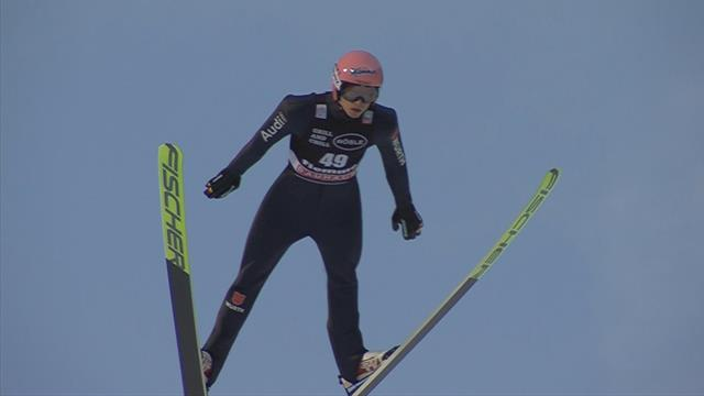 Karl Geiger produces the Jump of the Day at Val di Fiemme