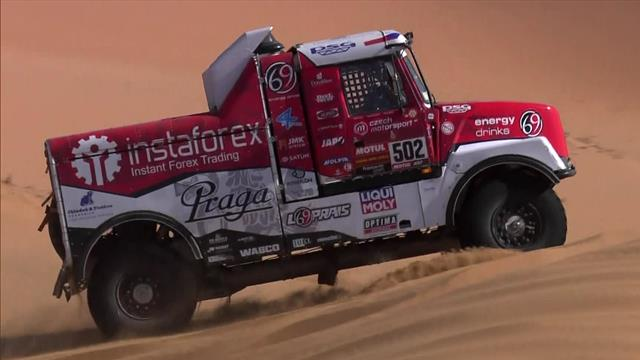 Hang-time for the Dakar big boys as trucks crank it up in high-speed dune stage