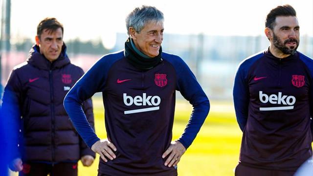 Quique Setién dirige su primer entrenamiento como entrenador del Barcelona