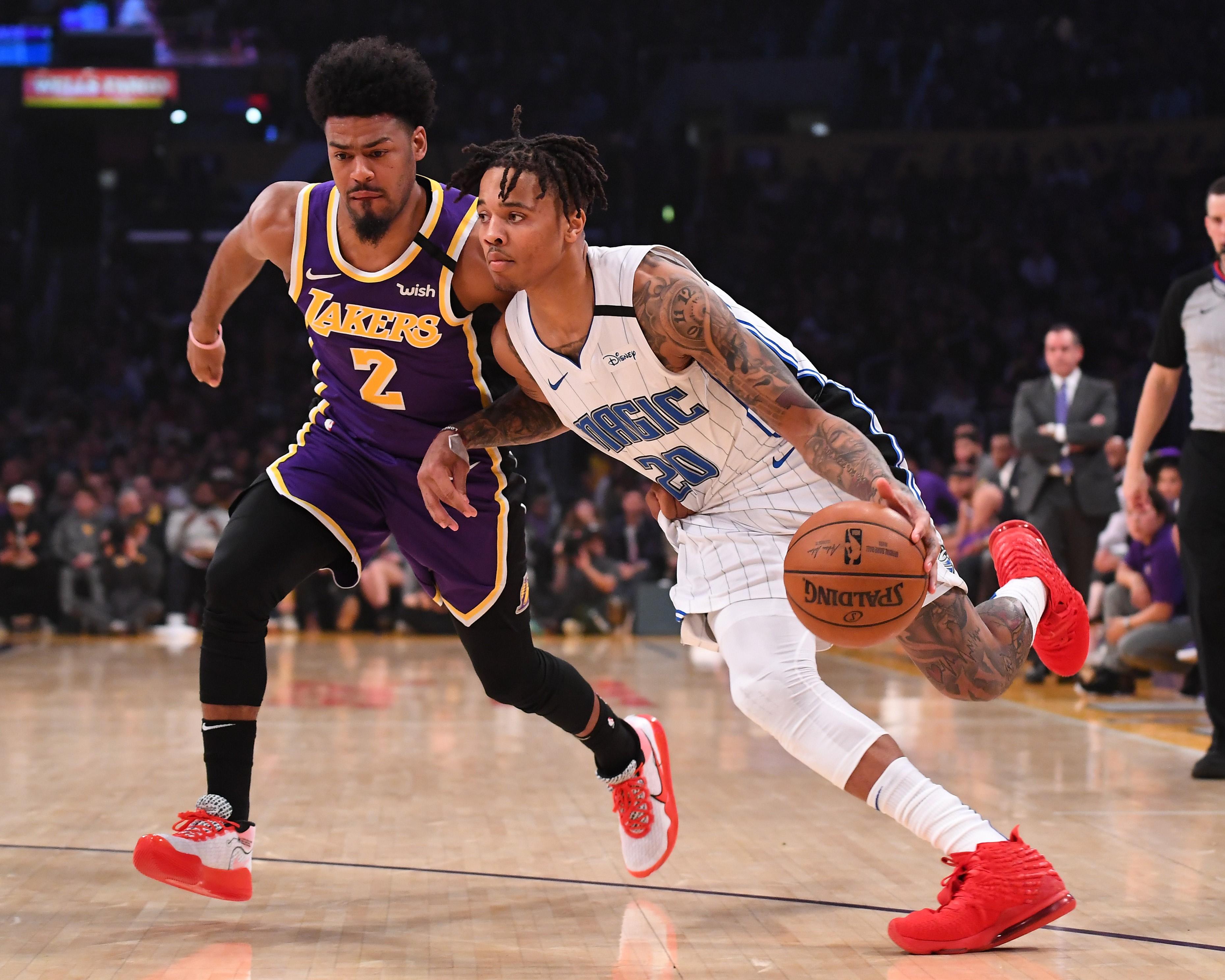 Markelle Fultz et Quinn Cook lors de Los Angeles Lakers - Orlando Magic en NBA le 15 janvier 2020