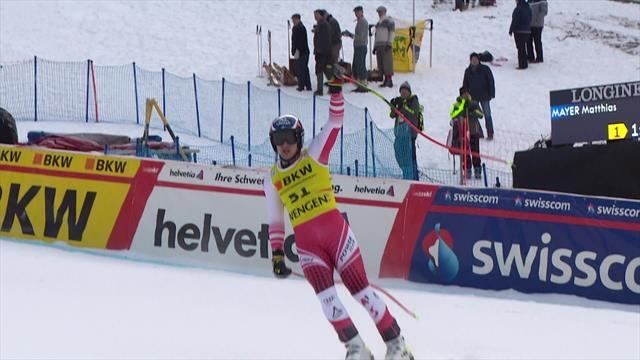 Mayer lays down gauntlet with huge downhill run