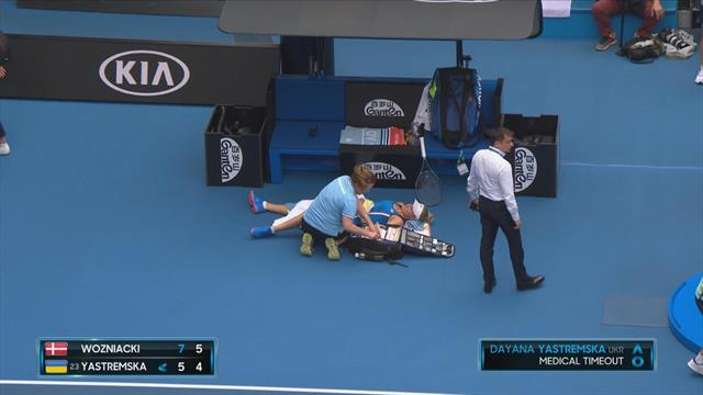 Yastremska calls for medical time out at crucial moment of Wozniacki match