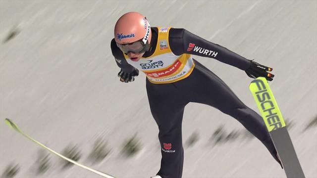 Geiger steigert sich im zweiten Sprung und verteidigt Weltcupführung