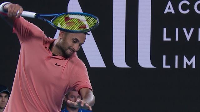 Furious Kyrgios destroys racket after miss