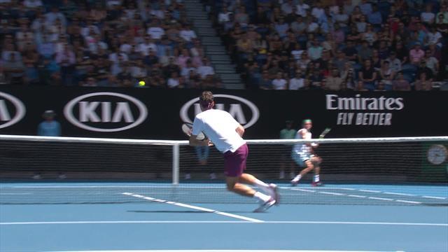 Great passing shot by Sandgren against Federer