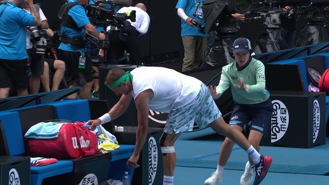Ball-kid clatters into Sandgren at changeover