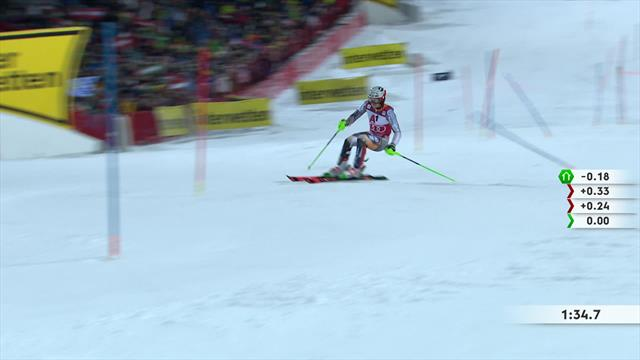 Watch the top three runs on a dramatic night of slalom in Schladming