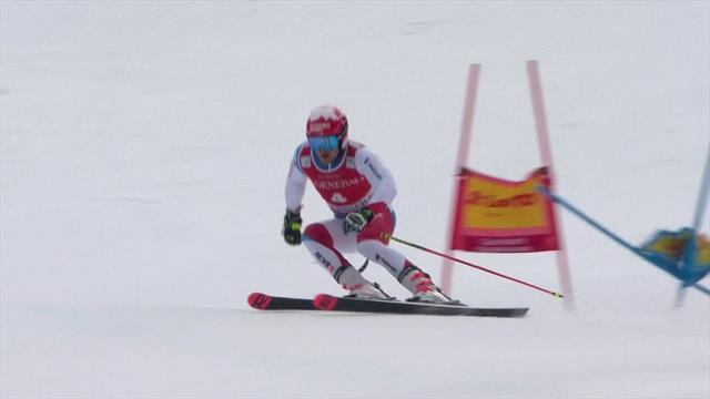 Loic Meillard's first run at Garmisch-Partenkirchen