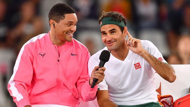 Trevor Noah imitates Nadal's serving habits... and Federer finds it hilarious