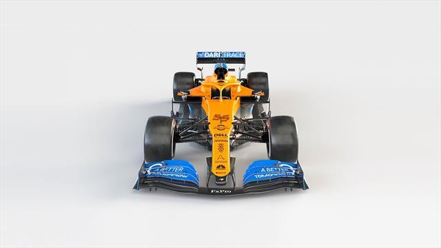 """McLaren presenta el nuevo MCL35 de Carlos Sainz más """"compacto y fino"""""""
