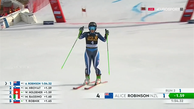 'Brilliant' - Top three runs as Robinson claims stunning giant slalom win