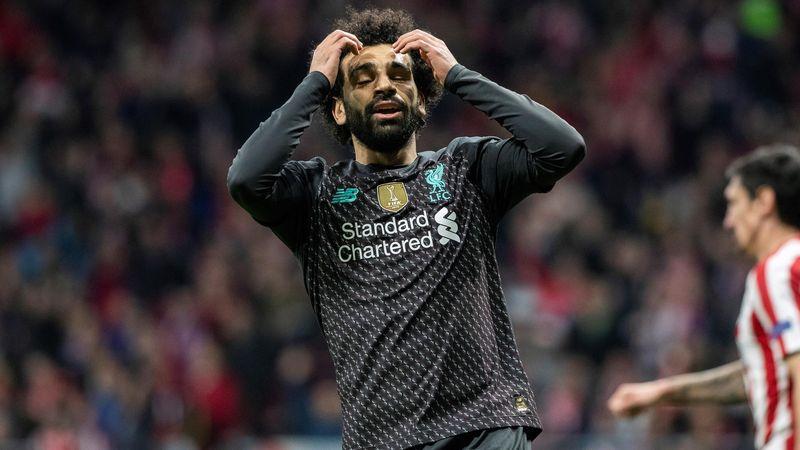 Salah se lamenta en el Atlético-Liverpool
