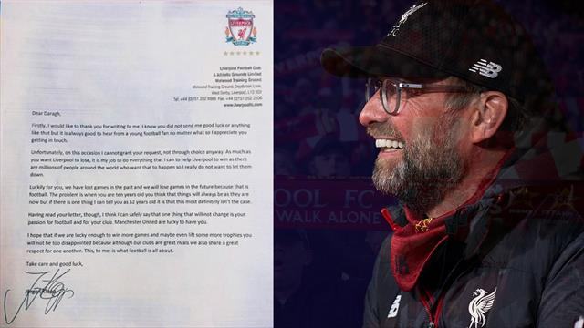 Jurgen Klopp replies young Man United fan who wants Liverpool to lose