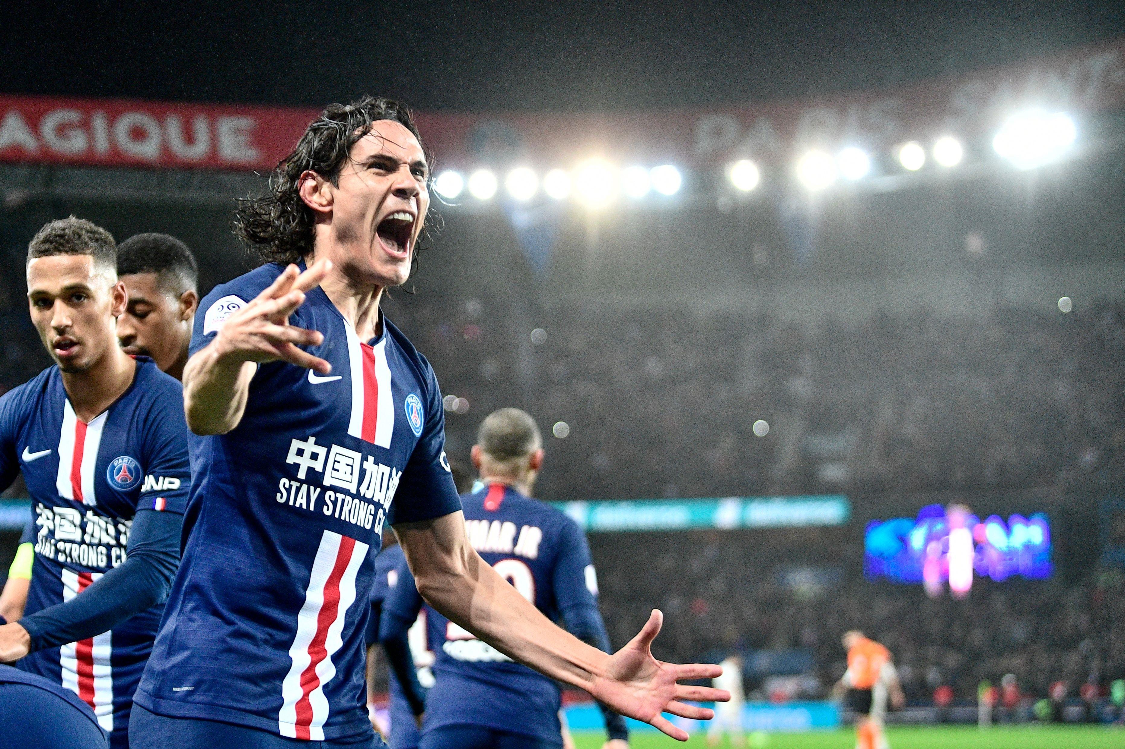 Paris Saint-Germain's Uruguayan forward Edinson Cavani celebrates after a goal during the French L1 football match between Paris Saint-Germain (PSG) and Girondins de Bordeaux at the Parc des Princes stadium in Paris, on February 23, 2020