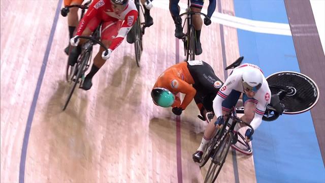 Buchli takes a heavy fall in men's Keirin Finals