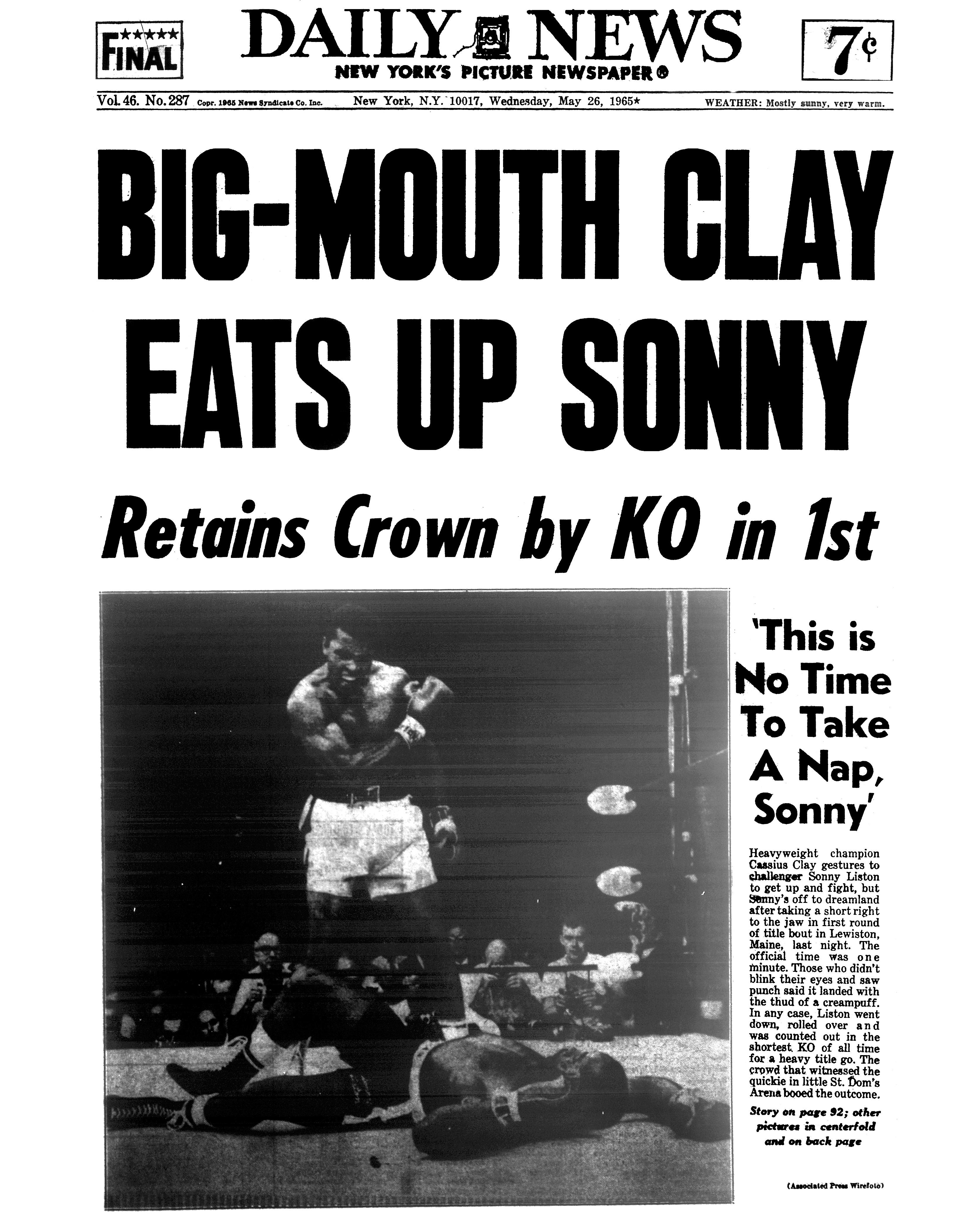 La une du Daily News après Ali - Liston