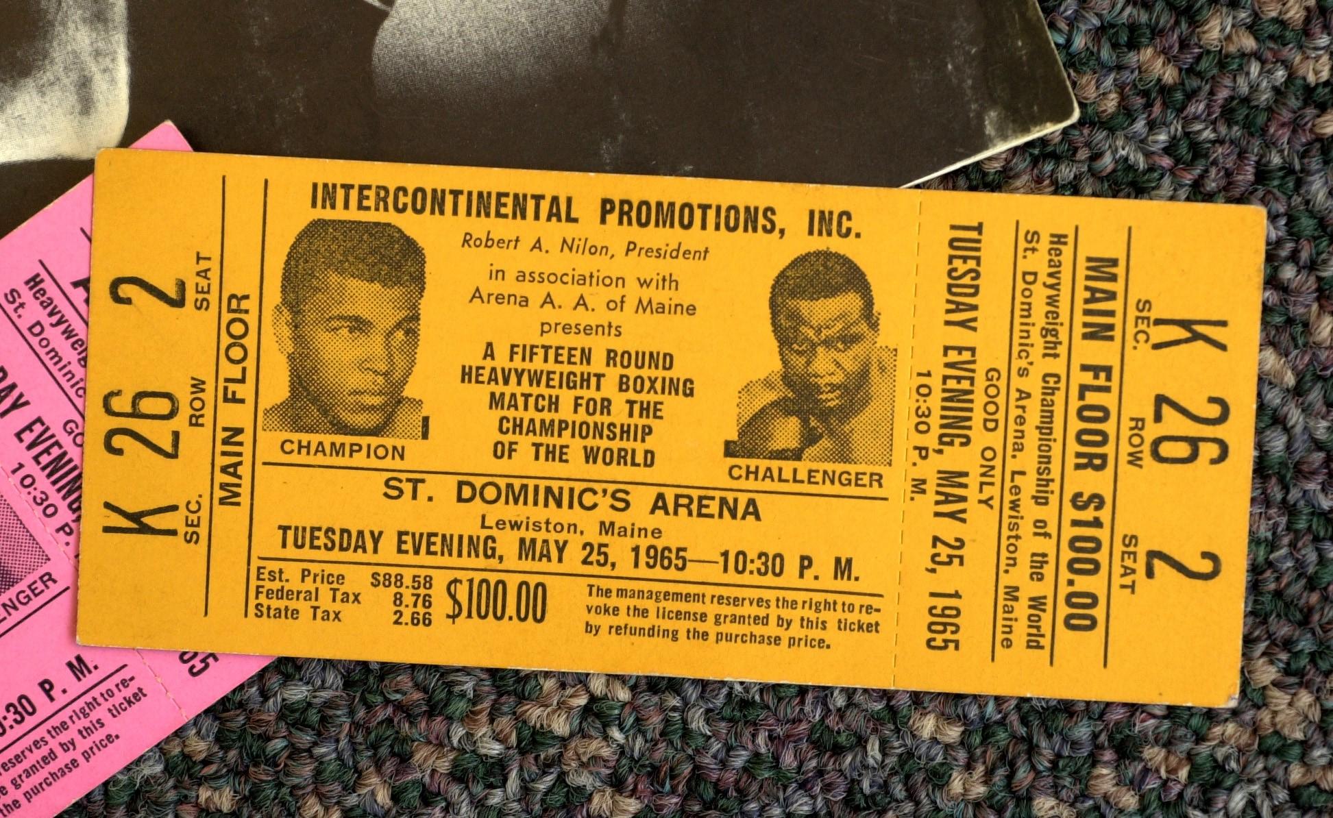 Le billet du match entre Ali et Liston