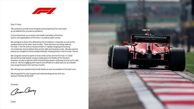 Chase Carey scrive ai fan di F1