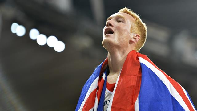 Greg Rutherford celebrates during Super Saturday