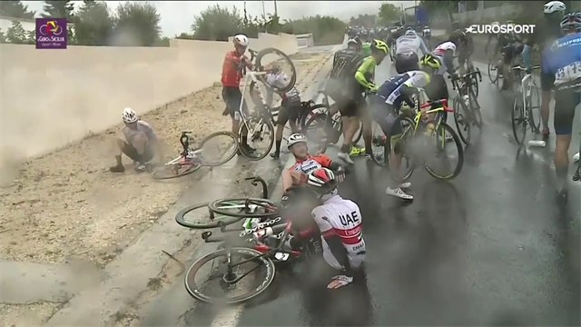 One year ago: Stage 3 of Giro Di Sicilia was a slippery one