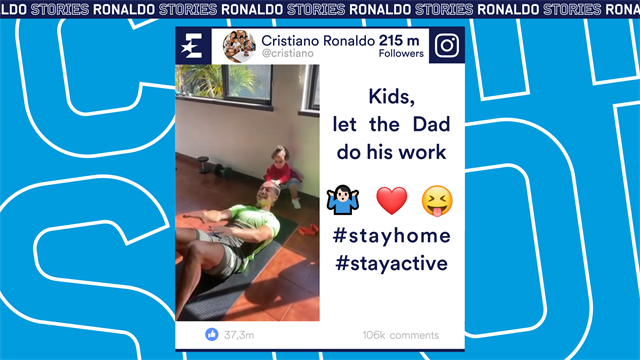 Social Stories: Ronaldo trains at home with his kids